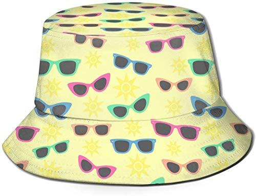 Gafas de sol vintage amarillas cubo con estampado unisex Sombreros de pescador pesca Gorra plegable reversible de verano Mujeres Hombres Sombrero para el sol al aire libre Viaje Campamento de playa