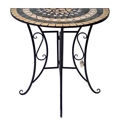 Wohaga Mosaiktisch halbrund 70x35cm Balkontisch Gartentisch Beistelltisch Bistrotisch Eisen Keramik Schwarz/Weiß/Grau/Terrakotta