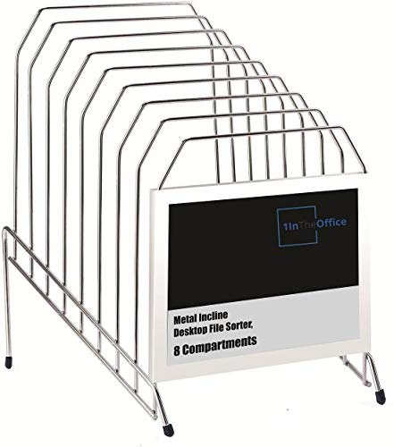1InTheOffice Metal Incline Desktop File Sorter, 8 Compartments, (Chrome)