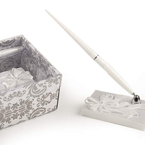 Mopec Bolígrafo para Libro de firmas con Soporte Decorado con un Lazo, Pack de 1 Unidad, Resina, Blanco, 5.70x10.30x18.00 cm