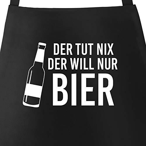 MoonWorks Grill-Schürze für Männer mit Spruch Der TUT nix, der Will nur Bier Baumwoll-Schürze schwarz Unisize