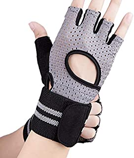 TOOGOO Bracers Compression Bicycle Riding Non-Slip Breathable Half Finger Fitness Weightlifting Gloves Gray Middle