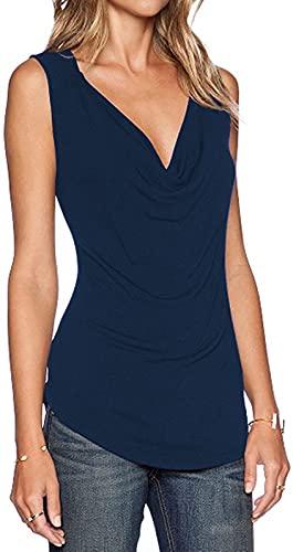 Sarin Mathews Women's V Neck Ruched Sleeveless Sexy Blouse Stretch Tank Tops Purplish Blue L