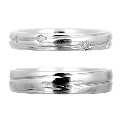 [ココカル]cococaru ペアリング 2本セット K18 ホワイトゴールド 結婚指輪 ダイヤモンド 日本製(レディースサイズ19号 メンズサイズ15号)