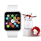 Smartwatch IP67 Pulsera Actividad Inteligente Pantalla Táctil Completa Reloj Inteligente Hombre Mujer Reloj de Fitness con Podómetro Cronómetros para Android y iOS - Blanca