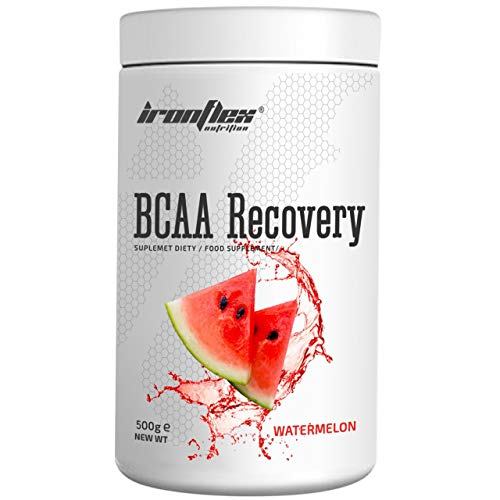 IronFlex BCAA Recovery - 1 Pack - Branched Chain Amino Acids in Powder - Muscle Regeneration - Anticatabolic - with Glutamine (Watermelon, 500g)