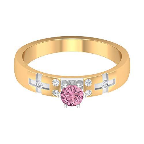 Anello da donna con tormalina rosa da 1/2 ct e diamante, solitario, anello di fidanzamento, in oro bicolore, 14K Giallo oro, Size:EU 60