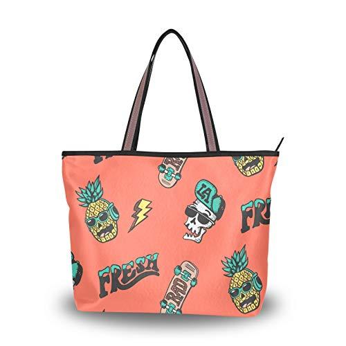 NaiiaN für Frauen Mädchen Damen Student Umhängetaschen Leichter Gurt Geldbörse Einkaufstasche Handtaschen Skate Board Skull