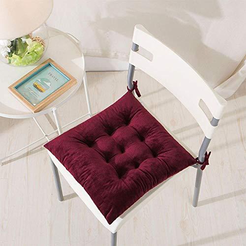 Cojín de la silla de algodón decorativo de lino silla cojines de respaldo para jardín, hogar, oficina, coche, vino, rojo, 40 x 40 cm