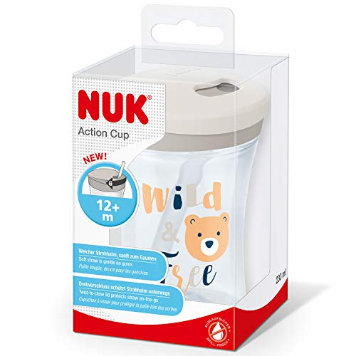 NUK Action Cup Toddler Cup, Twist Close Soft Drinking Straw, Leak-Proof, 12+ Months, BPA-Free, 230ml, Bear (Transparent)