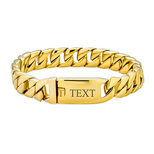 Bling Jewelry Personalize Large Strong Heavy Solid Flat Miami Cuban Curb Chain Link Bracelet for Men Teens Polished Gold Tone Stainless Steel 9 Inch Custom Engraved