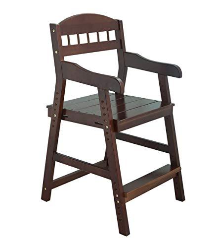 ZGYQGOO Holz Trittleiter Lifter Massivholz Lernstuhl Verstellbare Rückenlehne Mit Handlauf Kinderhocker, 2 Farben Klappleiter Stuhl (Farbe: Nussbaum)