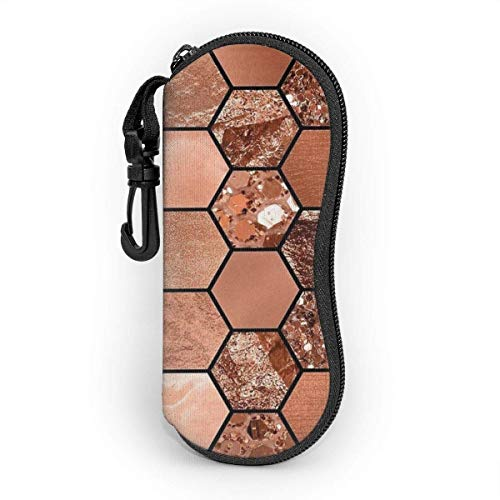 lymknumb Funda para gafas de sol ultraligera, funda Spectacle, bolsa de gafas portátil, con gancho de carabina, color oro rosa, hexagonal, neopreno, con cremallera