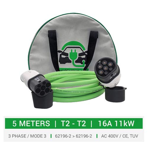EV Charging Cable Store 3-fasig type 2 Mennekes-formaat laadkabel. 5 meter kabel 16 A 11 kW 3-fase. 5 jaar garantie. 3-fasig 11 kW. Duosida compatibel met i3, Niro, eGolf elektrische auto's enz. 11kW 5 Meter groen