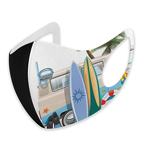 Fashion 3D Face_mask_Protect Printed Gesichts-Mund-SchutzFeline,Surfing Weekend Concept with Diving Elements Fins Snorkeling and Van Trip Relax Peace s