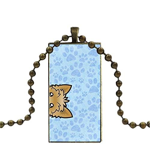 Soode para Unisex de Dibujos Animados Animal Dachshund Silueta Perro Colgante de Cristal Collar...