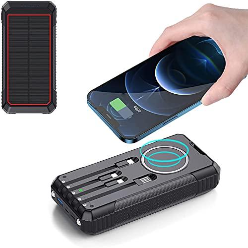 Cargador Solar Portátil con 30000Mah, 15W Power Bank Solar Inalámbrica, 18W USB C Solar Carga Rápida 6 Salida con LED Linterna 40W USB Cargador Rápido De Teléfono Celular para Viajes, Camping