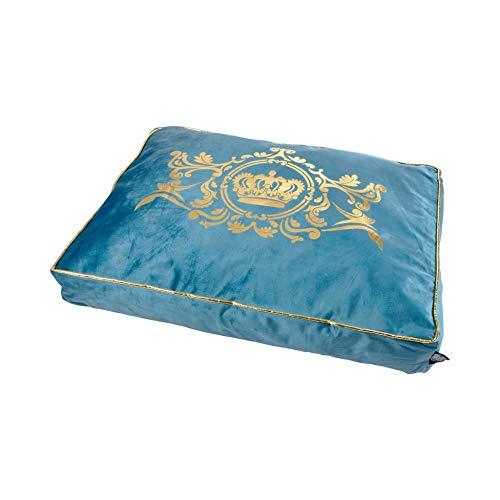 Luxus Samt Hundebett Krone 80x60cm blau Hundebett Schlafplatz Hunde Katzen Bett Crown King Queen