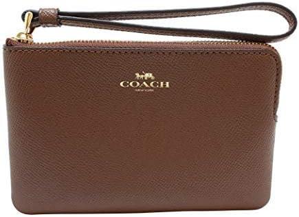 COACH Corner Zip Wristlet in Crossgrain Leather in Saddle 2