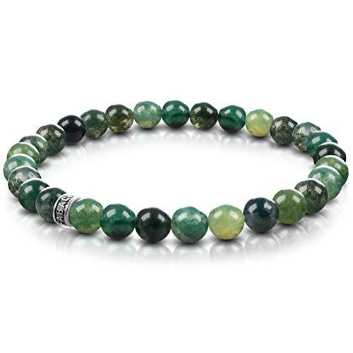 FABACH Achat Perlenarmband mit 6mm Edelstein-Perlen und 925 Sterling Silber Logo-Perle - Edles Naturstein Stretch-Armband für Damen (Meeresgrün)