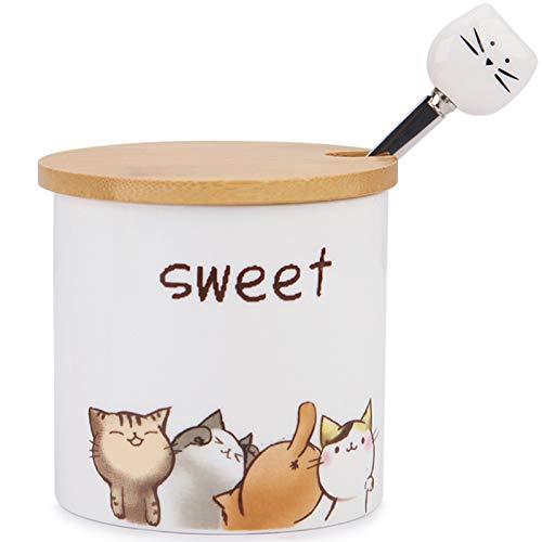 Azucarero de cerámica, Chase Chic Azucarero de porcelana con tapa de madera y cuchara de acero inoxidable de 9oz/266 ml con patrón de gato, para cocina, el mejor regalo para los amantes de los