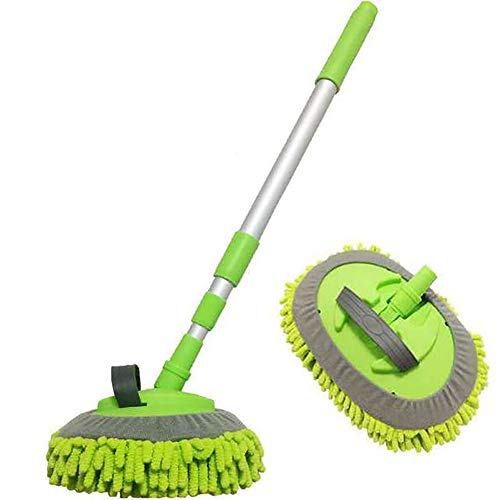 SSDM 2 in 1 Chenille Microfiber Car Wash Brush Mop Mitt with Aluminum Alloy Long Handle, Car Cleaning Kit Brush Duster, Not Hurt Paint Scratch Free Cleaning Tool