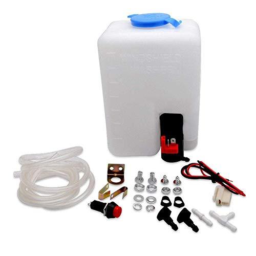 Cheerfulus 12V Universal Scheibenwaschanlage mit Pumpe und Schlauch,Reinigung Sprühsystem Windschuzscheibe Set,Einfach zu Verwenden