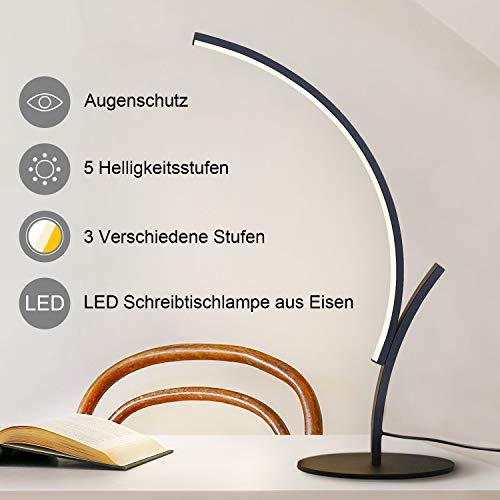 ZMH Moderne LED Schreibtischlampe aus Eisen, Tischleuchte Bürolampe mit Schalter Dimmbar Tischleuchte, Schreibtischlampe, Nachttischlampen Beleuchtung für Schlafzimmer Wohnzimmer
