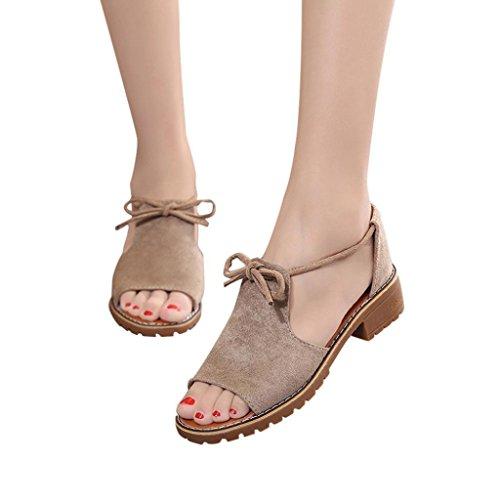 Gyoume Women Shoes Women Diamond Zipper Gladiator Sandals Low Flat Flip Flops Beach Sandals Bohemia Shoes (US:7.5, Khaki)