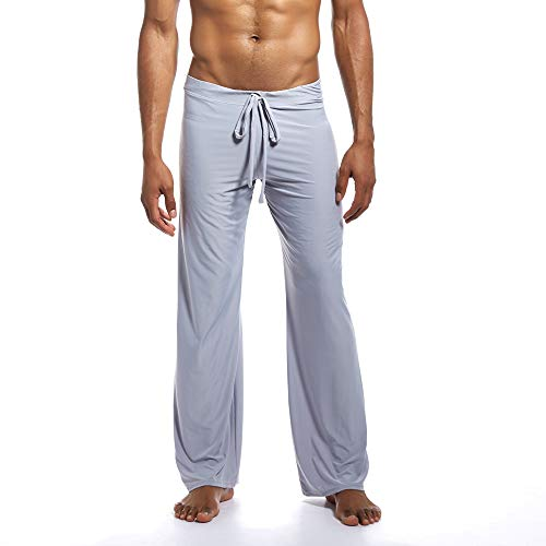 Aiserkly Herren Mode Yoga-Hosen aus reinem neuen Zuhause binden Bequeme Hosen Grau XL