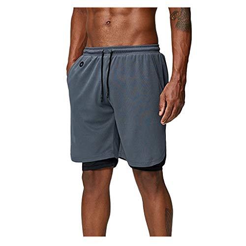 Btruely Herren Sport Shorts Schnell Trocknend Kurze Hose mit Reißverschlusstasch, Sporthose mit Tasch Sommer Kurze Hosen für Laufsport Fitness Joggen Gym