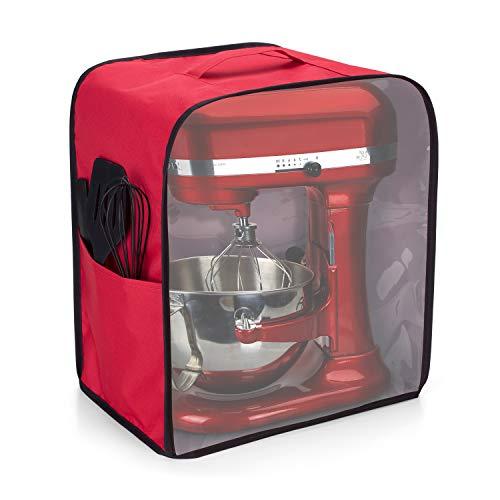 Luxja Sichtbar Abdeckhaube für Kitchenaid Küchenmaschine, Transparent Staubschutzhülle für Gemüseschneider, Abdeckung mit Griff für 5,7-7,6 Liter Kitchen Aid Artisan und Zubehör, Rot