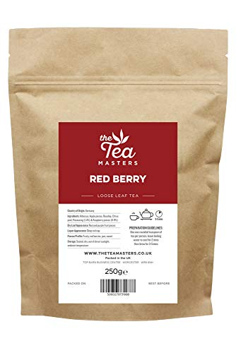 The Tea Masters Red Berry Leaf Tea - 250g of Premium Loose Leaf Fruit Tea - Classic Everyday Loose Herbal Tea for Hot and Cold Brew Tea