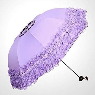 HKXR Lace Flower Double Layer Umbrellas Blue Lace Wedding Parasol Great Gift Girl Umbrella Women Sun Rain Princess Umbrellas (Color : Purple)