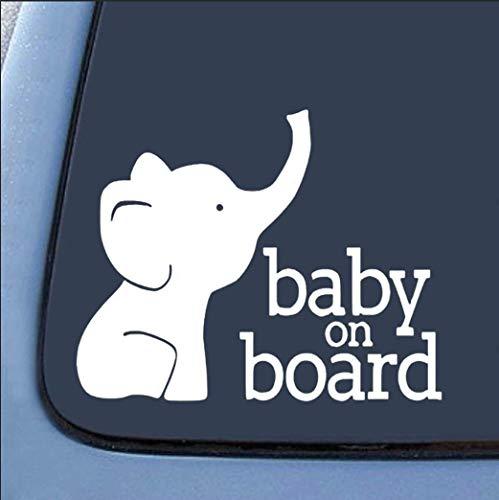 MZKN Goods Elephant Baby on Board Vinyl Sticker Decal Cars...
