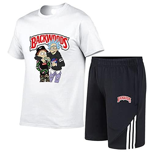 Camiseta y Pantalones Cortos Casuales de Manga Corta para Hombre Trajes de chándal Conjuntos de Camiseta y Pantalones Cortos de Manga Corta de Verano para Hombre, con cordón y Bolsillos Blanco-1 3XL