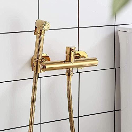 Grifo de grifo de lujo juego de rociador de bidé de latón dorado válvula de agua caliente fría dorada con manguera de 1 5 m boquilla de ducha de inodoro dorada