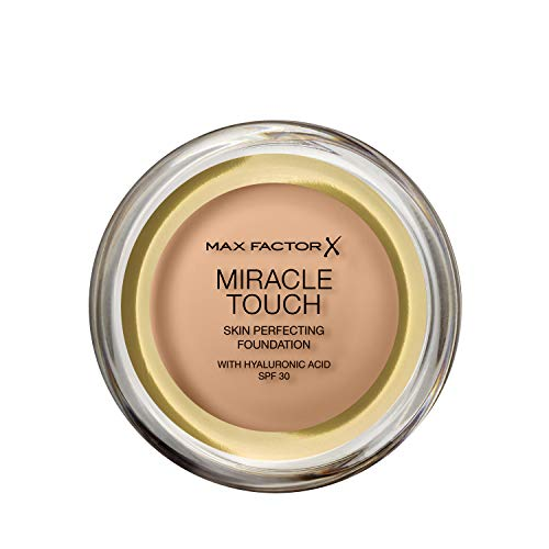 Max Factor Miracle Touch Foundation in der Farbe 60 Sand – Intensives, pudriges Make-up für ein makelloses Hautbild – Mit Lichtschutzfaktor 30