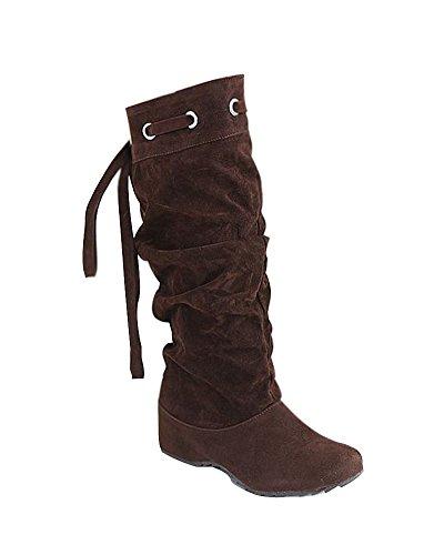 Minetom Damen Schnee Lädt die Warme Winter Glache Schuhe Mode Frauen Stiefel Half Boots ( Braun EU 40 )