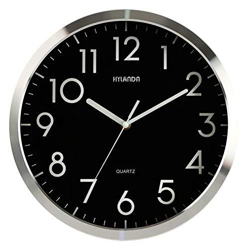 HYLANDA Relojes de Pared, 30 cm Grandes Modernos Diseño, Aluminio Marco Negro fácil de Leer, Silent Cuarzo Mechanism no- tickin, Originales Decorativos Cocina Salón Despacho