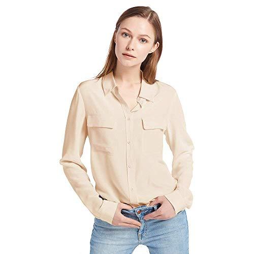 LilySilk Klassisch Seide Damenbluse Hemdbluse Shirt Damen Langärmlig mit Perlmutt-Knopfleiste von 18 Momme Sandfarbe L Verpackung MEHRWEG