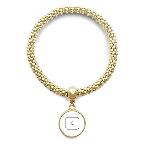 DIYthinker Damen Tastatur Symbol C Golden Armband Laufende Anhänger Schmuck-Kette