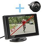YATEK Set de cámara Marcha atrás para Moto con Monitor TFT LCD 4,3' + cámara 360º de visión Trasera empotrable, ciclomotores y Motocicletas