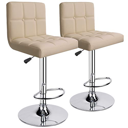 Leader AccessoriesBarhocker (2er-Set) Barstuhl mit Lehne stylischer Tresenhocker höhenverstellbar 62-83cm Drehstuhl 360 Grad Bezug aus Kunstleder Beige