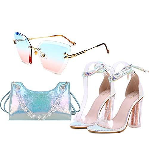 AELEGASN Señoras Punta Abierta Tacones Altos Sandalias de Cristal con Cordones Verano Bolsa de Mensajero de Color y Gafas de Sol Polarizadas Irregulares,35