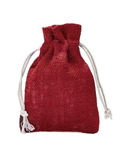 5 Jutesäckchen, Jutebeutel mit Baumwollkordel, Größe:  50x40 cm, 100% Jute, Winter-Topfschutz, Dekoration, Jute-Geschenkverpackung, Aufbewahrung (Rot)