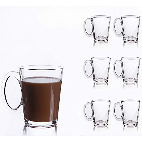 Glass Coffee Mug Set of 6 - Tempered Glass Damage-resistant 10½ Ounce with Handle for Hot and Cold Drinks / Crystal Clear Glass Cups for Cappuccino, Latte, Espresso Coffee Gifts, Big Tea Cup