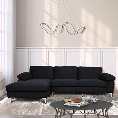 FCNEHLM Left-Hand Facing, L-Shaped Couch for Family Living Room, Modern Large Velvet Sectional Sofa with an Extra-Wide Chaise Lounge (Black)