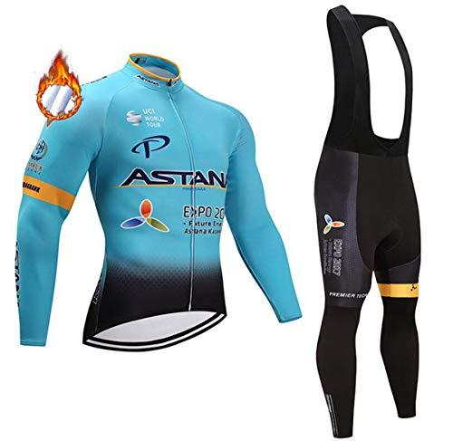 CHHBS Inverno Maglia da Ciclismo,Ciclismo Abbigliamento Uomo Termico Vello,da Bici Manica Lunga e Pantaloni Confortevole Tessuto Spesso (Blu, XL)