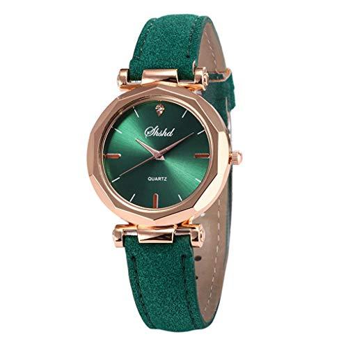 Dorical Damen Luxury Uhr Analog Quarz mit Armband,Crystal Wristwatch(Grün,One size)